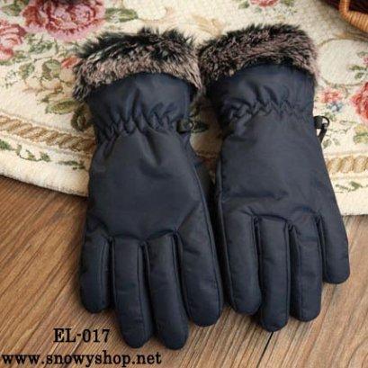 [พร้อมส่ง] [EL-017] EL ถุงมือกันหนาวสีดำผ้าร่มด้านในบุกันหนาว