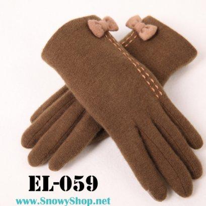 [[PreOrder]] [EL-059]EL ถุงมือกันหนาวสีน้ำตาลเข้มแต่งโบว์ สามารถทัชสกรีนได