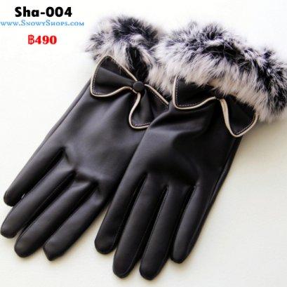 [พร้อมส่ง] [Sha-004]  ถุงมือหนังสีดำ แต่งโบว์ ด้านในซับขนกันหนาว