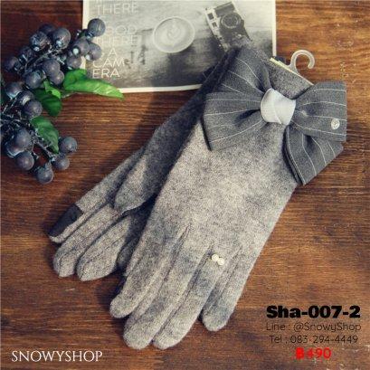 [พร้อมส่ง] [Sha-007-2]  ถุงมือสีเทาแต่งประดับด้วยโบว์น่ารักมากๆ