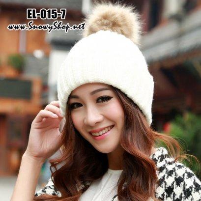 [PreOrder] [EL-015-7] EL หมวกไหมพรมสีขาวพับได้ แต่งขนปุย