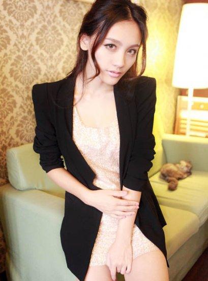 [*พร้อมส่ง L ] [An-004] AnnaSu++เสื้อสูท++เสื้อสูทสีดำ ไหล่ตั้ง เข้ารูป เสื้อสูทตัวยาว