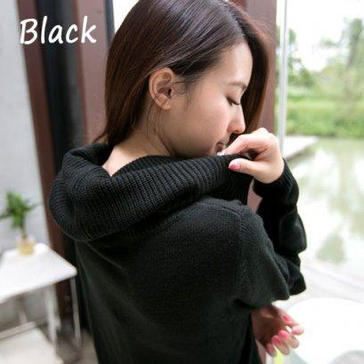 [[*พร้อมส่ง S]] [OB-055-11] Orange Bear++เสื้อคอเต่า++เสื้อคอเต่าไหมพรมแขนยาวสีดำ