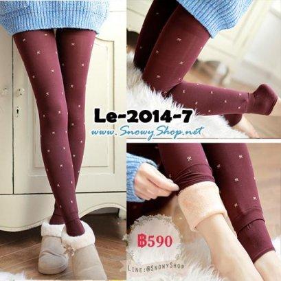 [พร้อมส่ง] [Le-2014-7] Leggings ลองจอนกันหนาวสีแดงลายโบว์ข้างในซับขนกันหนาวหนาสีครีมค่ะ