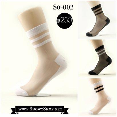 [พร้อมส่ง F] [So-002] ถุงเท้าลายซีทรูลายทาง ขายแพคละ4 คู่ มี 4สีค่ะ