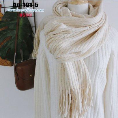 [พร้อมส่ง] [An-101-5] Scarf ผ้าพันคอไหมพรมสีขาวครีม ไหมพรมถักลายเส้น ผ้าหนานุ่มใส่กันหนาว
