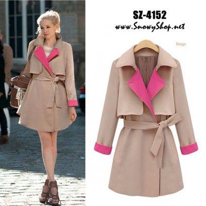 [*พร้อมส่ง M,L,XL] [SZ-4152] Shezyy++เสื้อกันหนาว++เสื้อโค้ทกันหนาวสีครีมปกสีชมพู พร้อมผ้าผูกเอว