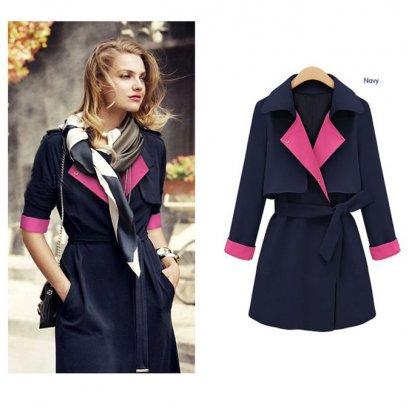 [*พร้อมส่ง S,L,XL] [SZ-4152-1] Shezyy++เสื้อกันหนาว++เสื้อโค้ทกันหนาวสีน้ำเงินปกสีชมพู พร้อมผ้าผูกเอว