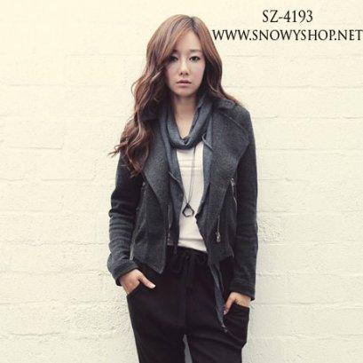 [[*พร้อมส่ง L]] [SZ-4193] SZ เสื้อกันหนาวสีเทาแขนยาวผ้าคอตตอน แต่งซิบ