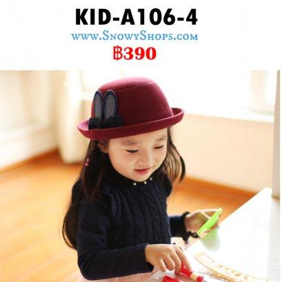 [พร้อมส่ง] [Kid-A106-4] หมวกวูลเด็กสีแดง ลายหูกระต่าย ใส่เที่ยวน่ารักมากๆค่ะ