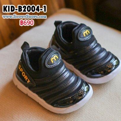 [พร้อมส่ง 21,22,23,24,25] [KID-B2004-1] รองเท้าเด็กเล็กสีดำ ผ้าเงา  ลาย M สวมใส่ง่าย ด้านในพื้นนุ่มค่ะ