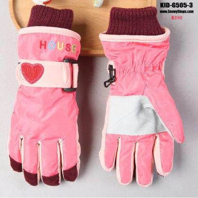 [PreOrder]  [Kid-G505-3] ถุงมือกันหนาวสีชมพูกลาง  ด้านในซับขนกันหนาว เล่นหิมะได้ (เหมาะสำหรับเด็ก 7-12ขวบ)