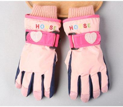 [พร้อมส่ง]  [Kid-G505-4] ถุงมือกันหนาวสีชมพูอ่อน  ด้านในซับขนกันหนาว เล่นหิมะได้ (เหมาะสำหรับเด็ก 7-12ขวบ)