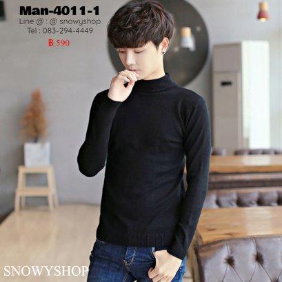 [พร้อมส่ง M,L] [Man-4011-1] เสื้อไหมพรมคอสูงชายสีดำ ผ้าไหมพรมเนื้อเรียบ ใส่สบาย