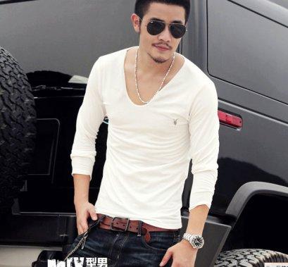 [[พร้อมส่ง L]] [Mix-001] MIX++เสื้อยืด++เสื้อยืดสีขาวแขนยาวผ้ายืดใส่สบาย