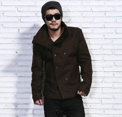[[พร้อมส่ง M]] [Mix-016] MIX++เสื้อโค้ท++เสื้อโค้ทกันหนาวผู้ชายสีน้ำตาลติดกระดุมหน้าใส่กันหนาว
