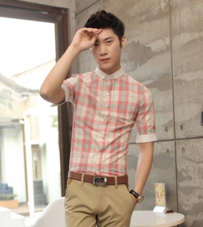 [พร้อมส่ง XL] [Msa-015] SHAN7++เสื้อเชิ๊ต++เสื้อเชิ๊ตผู้ชายสีชมพูลายสก๊อตคอปกแขนพับ