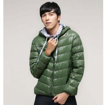 [[พร้อมส่ง L,XL]] [OBM-001] Orange Bear++เสื้อโค้ทกันหนาว++เสื้อโค้ทกันหนาวผู้ชายสีเขียวผ้านวมร่ม ซิปหน้า ใส่กันหนาวเท่ห์มากๆ
