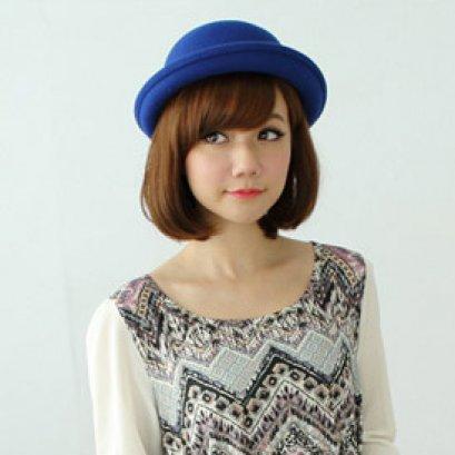 [[*พร้อมส่ง]] [CW-354-2] CatWorld++หมวก++หมวกสีน้ำเงินผ้าวูทรงกลม