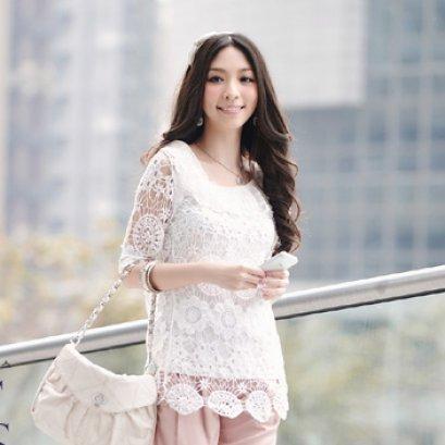 [[*พร้อมส่ง F]] [เสื้อลูกไม้] [Do-433] Domeya ++เสื้อ++ เสื้อแขนสามส่วนผ้าลูกไม้สีขาว