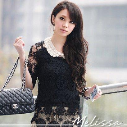 [[*พร้อมส่ง F]] [เสื้อลูกไม้] [Do-434] Domeya ++เสื้อ++ เสื้อแขนสามส่วนผ้าลูกไม้สีดำ