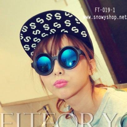 [[พร้อมส่ง]] [FT-019-1] แว่นตากันแดด++แว่นตากันแดดปรอทสีน้ำเงินทรงกลม