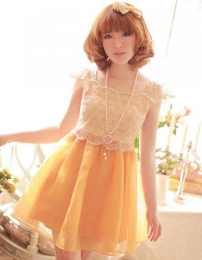 [*พร้อมส่ง L] [เดรสลูกไม้] [RU-003] Ruis++เดรส++เดรสเสื้อลูกไม้สีส้มติดกับกระโปรงพองสีส้ม สวยมาก แนะนำค่ะ