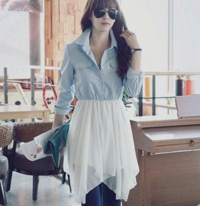 [[*พร้อมส่ง M,L ]] [SZ-2056] Shezyy++เดรส++เดรสเสื้อเชิ๊ตสีฟ้าแขนยาวคอปก เอวจั๊มกับกระโปรงผ้าซีฟองสีขาว