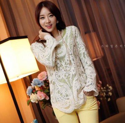 [[*พร้อมส่ง F ]] [เสื้อลูกไม้] [SZ-4019] SZ++เสื้อ++เสื้อสีขาวผ้าลูกไม้แขนยาว