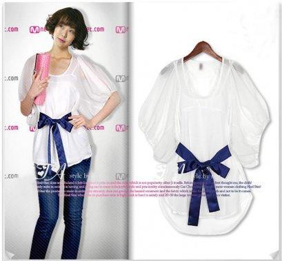 [[*พร้อมส่ง F]] [SZ-8117] SZ++เสื้อ++เสื้อสีขาวแขนพองๆเอวผู้กผ้าซาตินสีน้ำเงินสวยงามค่ะ