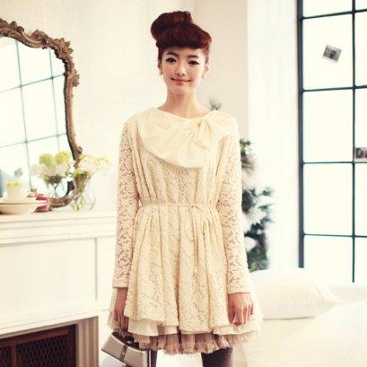 {{SALE}} [[*พร้อมส่ง F]] [เสื้อลูกไม้] [SZ-8181] BestShez ++เสื้อ++ เสื้อแขนยาวสีขาวผ้าลูกไม้ค่ะ