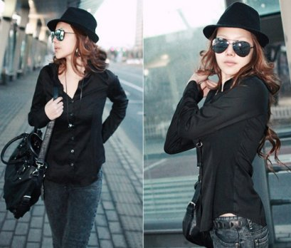 [[*พร้อมส่ง F]] [SZ-8219] SZ++เสื้อ++เสื้อเชิ๊ตสีดำคอปก