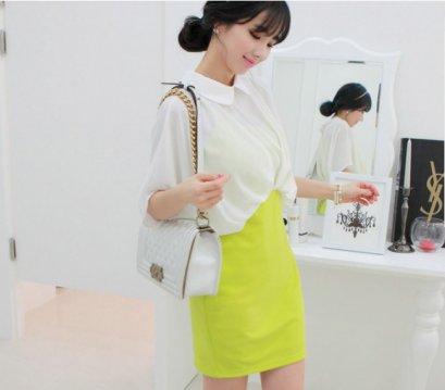 [[*พร้อมส่งS,M ]] [SZ-8227] BestShez++เดรส++เดรสเสื้อซีฟองสีขาวตัวหลวมติดกับกระโปรงสีเหลืองเข้ารูป