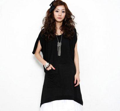 [[*พร้อมส่ง F]] [SZ-9209] Style By Shez++เสื้อ++สีดำตัวยาวแขนกุด ผ้าฝ้ายหนายืดหยุ่นได้อย่างดี มีกระเป๋าเก๋ๆข้างหน้าค่ะ