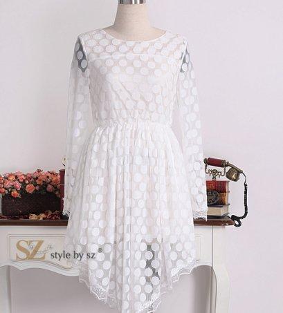[[*พร้อมส่ง F]] [SZ-9587] Style By SZ ++เสื้อ++ เสื้อแขนยาวซีทรูลายจุดสีขาว