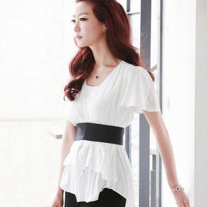 [[*พร้อมส่ง F]] [SZ-9649] Style By SZ ++เสื้อ++ เสื้อแขนสั้นสีขาว