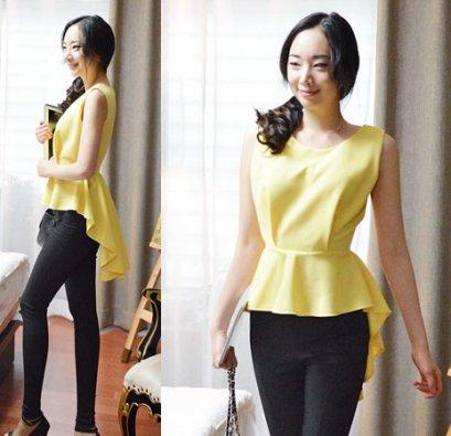 [[*พร้อมส่ง M]] [SZ-9794] Style By SZ++เสื้อ++เสื้อสีเหลืองแขนกุดปลายเสื้อยาวระบาย