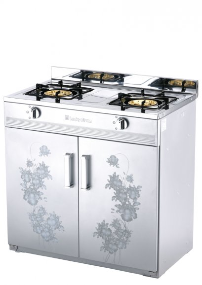 Freestanding gas cooker with cabinet