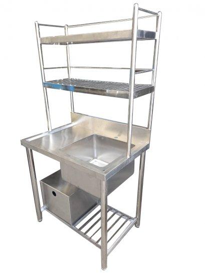 ซิงค์ล้างจานพร้อมที่ดักไขมัน ซิงค์ ขนาด 55x80x80+80 ซม. (ก*ย*ส)