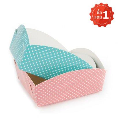 ถาดรองถุงขนม ลายจุด สำหรับถุงจีบ 6 x 9 นิ้ว (1 แถม 1)