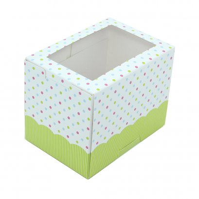 BB24 กล่องเค้ก/คัพเค้ก 1 ชิ้น สีเขียว