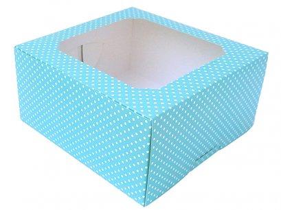 กล่องเค้กทรงสูง 1 ปอนด์ ลายจุด สีฟ้า