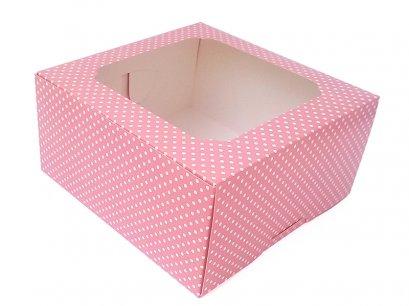 กล่องเค้กทรงสูง 3 ปอนด์ ลายจุด สีชมพู