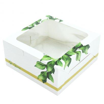กล่องเค้กทรงมาตรฐาน 1 ปอนด์  ลาย Go Green