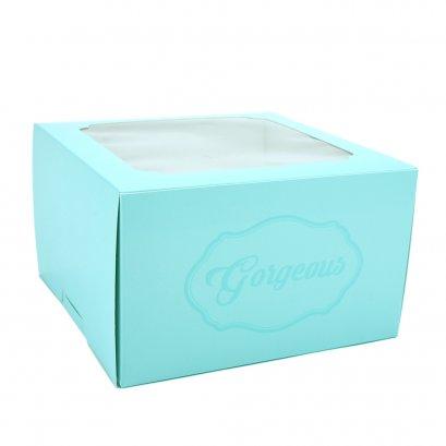 กล่องเค้กทรงสูง 1 ปอนด์ Gorgeous สีฟ้า