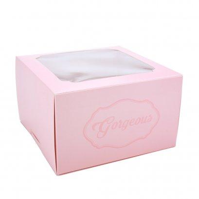 กล่องเค้กทรงสูง 1 ปอนด์ Gorgeous สีชมพู
