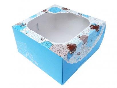 กล่องเค้กทรงสูง 3 ปอนด์  Sweet Floral  สีฟ้า