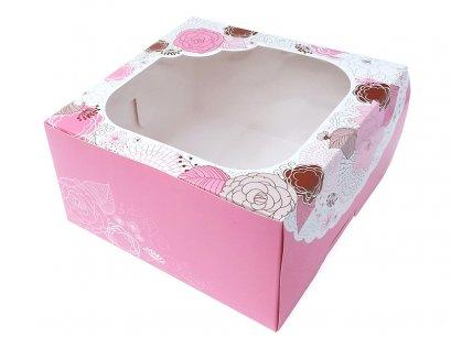 กล่องเค้กทรงสูง 1 ปอนด์ Sweet Floral สีชมพู