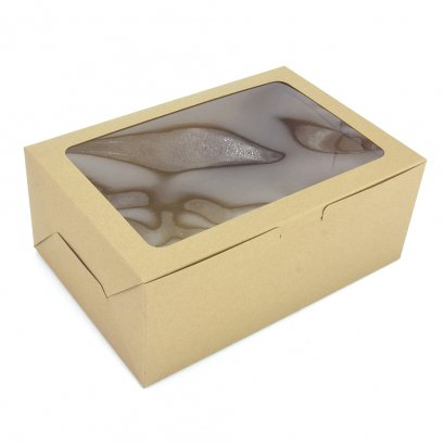 กล่องเบเกอรี่ / คัพเค้ก 6 หลุม คราฟท์ KB45