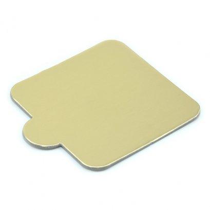 ฐานรองมูสเค้กสีทองด้าน สี่เหลี่ยม 8 ซม. แบบหนา
